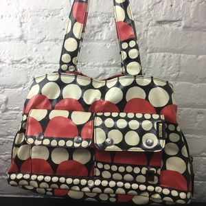 Brooklyn Industries waxed canvas polka Dot Bag LG